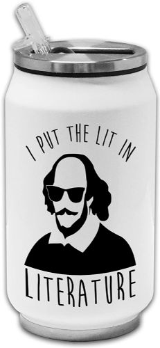 I Put The Lit in Literature Funny Novelty Thermos Drinking Can